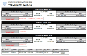Term Dates 2017-2018